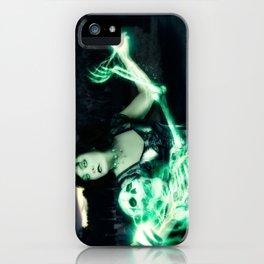 Sorceress casting spells on skeleton. iPhone Case
