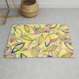 October Leaves with yellow purple pink blue and green Rug
