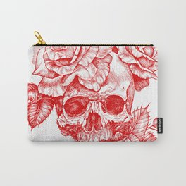 Roses and Human Skull - Red Carry-All Pouch