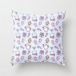 Cute Christmas // Blue Throw Pillow
