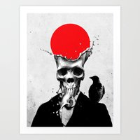 splash Art Prints featuring SPLASH SKULL by Ali GULEC