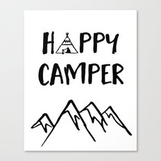 Happy Camper quote + Mountain for Kids Room Canvas Print