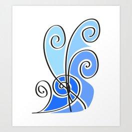 blue waves lines Art Print