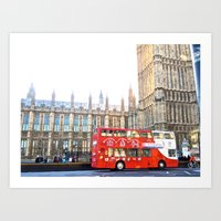 RED BUS IN LONDON , United Kingdom  Art Print
