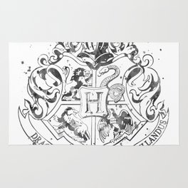 Hogwarts Crest Black and White Rug