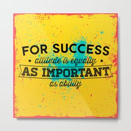 Success Print Quote Metal Print