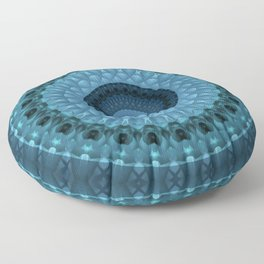 Dark and light blue mandala Floor Pillow