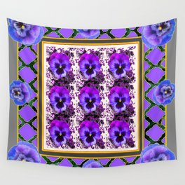 PURPLE & BLUE SPRING PANSIES  GARDEN  PATTERN Wall Tapestry