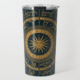 Vintage Zodiac & Astrology Chart | Royal Blue & Gold Travel Mug