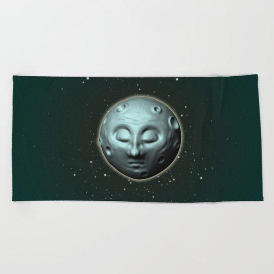Moon over starry sky Beach Towel