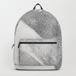 Marble - Silver Glitter on White Metallic Marble Pattern Backpack
