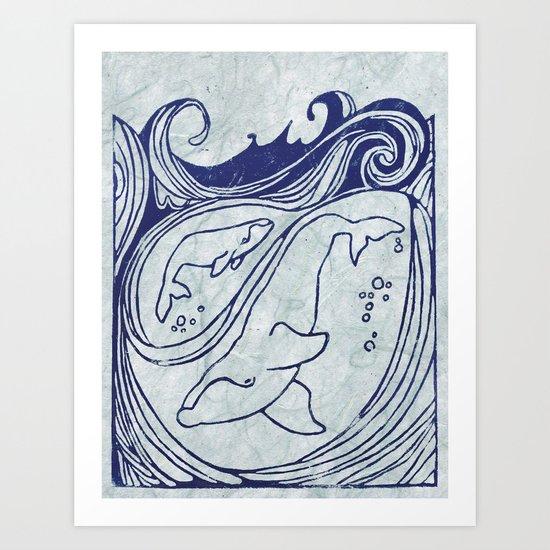 Whales & Waves Art Print