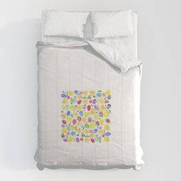 Tender chicks illustration | yellow watercolor pattern | alis| eastern pattern Comforters