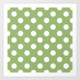 Olivine - green - White Polka Dots - Pois Pattern Art Print