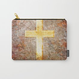 Gold Cross on Rusted Metal Plate Carry-All Pouch