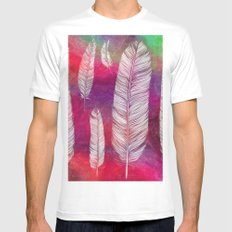 feather3 White SMALL Mens Fitted Tee