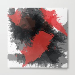 Red and Black Paint Splash Metal Print