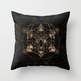 Deer in Sacred Geometry Composition - Black and Gold Throw Pillow