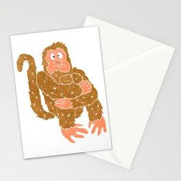 monkey sitting.chimpanzee cartoon. Stationery Cards
