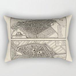 Map of Dordrecht and Brielle, Netherlands (1646) Rectangular Pillow