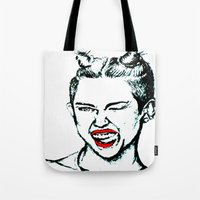 miley cyrus Tote Bags featuring Miley Cyrus  by Clairenisbet