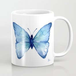 Two Blue Butterflies Watercolor Coffee Mug