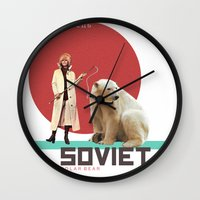 soviet Wall Clocks featuring SOVIET POLAR BEAR by Mr. Alpe