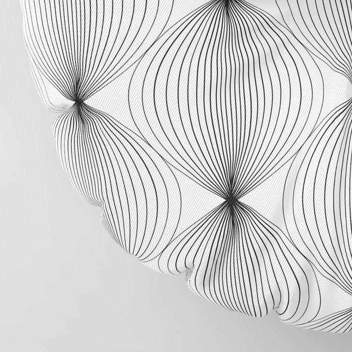 Geometric Orb Pattern - Black Floor Pillow