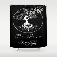 firefly Shower Curtains featuring Sleepy Firefly by Mike Clements
