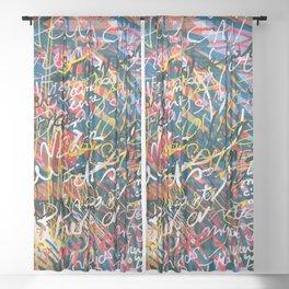 Graffiti Pop Art Writings Music by Emmanuel Signorino Sheer Curtain