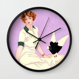 "Coles Phillips 'Fadeaway Girl' Illustration ""Feeding Pigeons"" Wall Clock"