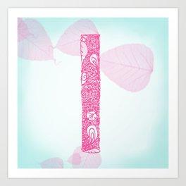 """Floral Letter """"I"""" Art Print"""