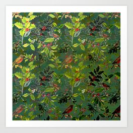 Christmas Pattern with Green Background Art Print