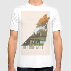 The Lone Wolf White Mens Fitted Tee MEDIUM