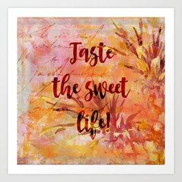 Pineapple Sweet Life Summer Quote Art Print
