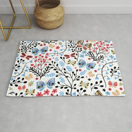 boho chic spring butterfly aqua blue coral red yellow ditsy floral botanical  Rug