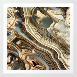 White Gold Agate Abstract Art Print