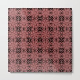 Dusty Cedar Floral Geometric Metal Print