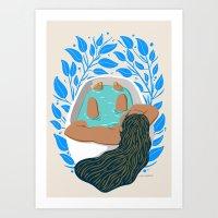 Bathtime with Blue FLorals Art Print