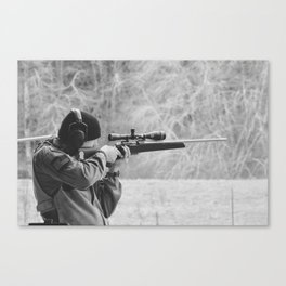 Young Shooter-B&W Canvas Print