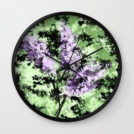 LILACS WATERCOLOR  (abstract) Wall Clock