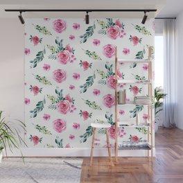 Blush pink green watercolor modern floral pattern Wall Mural