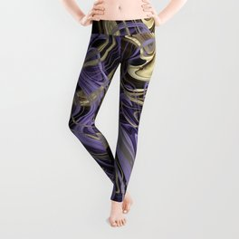 Gold & Ultra Violet Liquid Marble Love Leggings