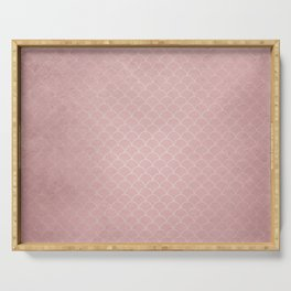 Grunge textured rose quartz small scallop pattern Serving Tray