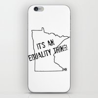 minnesota iPhone & iPod Skins featuring Minnesota Equality by The Happy Taurus
