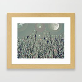 A Dawning with black birds lights on bare branches stars and gibbous moon  Framed Art Print