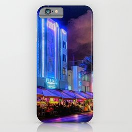 South Beach Miami City Lights by Jeanpaul Ferro iPhone Case