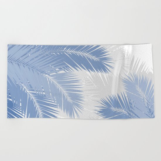 BLUE TROPICAL PALM TREES Beach Towel
