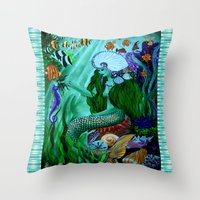 the little mermaid Throw Pillows featuring Little Mermaid. by Sylvie Heasman