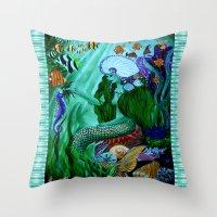little mermaid Throw Pillows featuring Little Mermaid. by Sylvie Heasman